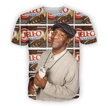 Bill Cosby Cosby Show Little Bill and Jello Pudding Pops All-Over Print Sublimated Brown T-Shirt