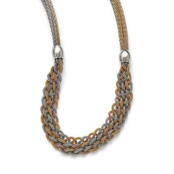 Braided Mesh Necklace in Stainless Steel - Magnetic Clasp