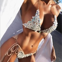Sexy lace set auger metal halter two piece bikini swimsuit