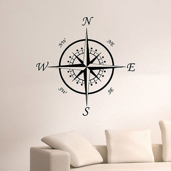 WALL DECAL VINYL STICKER WIND ROSE COMPASS TRAVEL GEOGRAPHY DECOR SB682