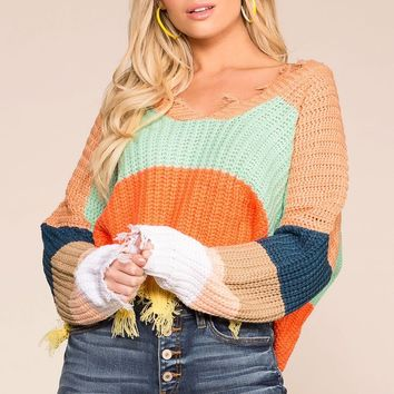 Late Nights Amber Colorblock Distressed Knit Sweater