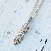 Flight of Fancy Gold Feather Necklace