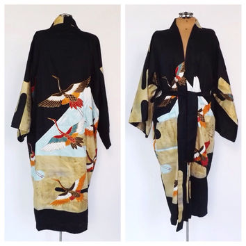 Vintage Golden Crane Black Gold Kimono Robe Cotton Haori Jacket Yukata Robe Pin Up Girl Traditional Oriental Robe Crane Bird Kimono
