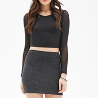 Glitter Knit Mini Skirt