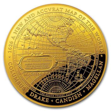 2018 Australia 1 oz Gold $100 Map of the World Western Hemisphere