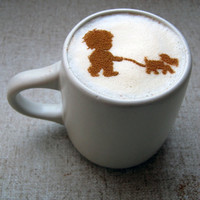 Coffee STENCIL A Boy and His Dog by CosmicEmotions on Etsy