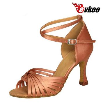 Evkoodance Six Color Latin Dance Shoes For Ladies Made By High Quality Satin Material 7cm Heel Height Evkoo-035
