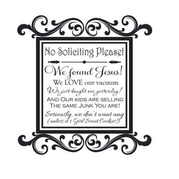 "No Soliciting Decal- transfer sticker with quote No Soliciting Please and Decorative Elegant Frame-Front Porch Sign 22""H x 22""W"