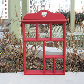 Red wood shelf display unit with heart cut-out - Heart decor, red decor, red shelf, painted shelf, knick knack shelf