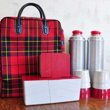 Vintage Thermos Picnic Set, Plaid Tartan Bag, Glass Lined Metal One Quart Thermos, Storage Containers
