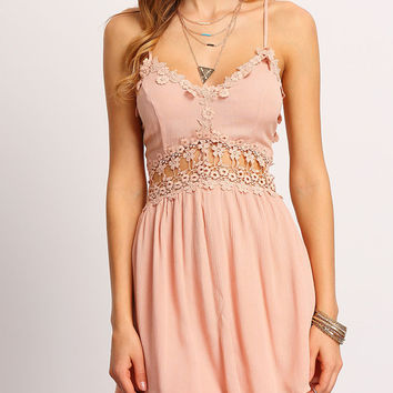 Pink Lace Trim Cross Back Cami Skater Dress