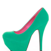 Dollhouse Kammy Sea Green Super Platform Heels - $39.00