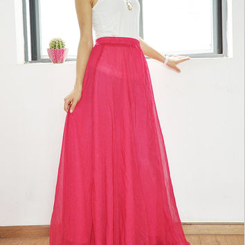 Chiffon Maxi Skirt High Waist Long Skirt Silk Skirts Elegant Elastic Waist Summer Skirt Floor Length Long Skirt