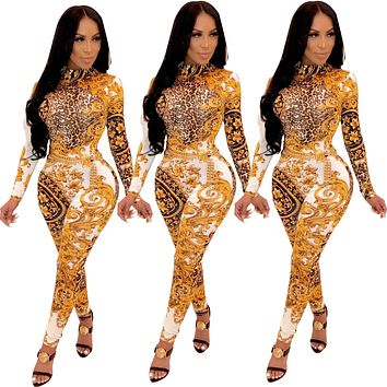 Women Sexy Gold Floral Vintage Printed Long Sleeve Jumpsuit