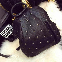 Street Studded Leather Large Backpack Daypack Travel Bag Motorcycle Bag
