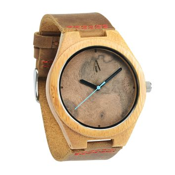 Wooden Watch // Walnut Burl Plain Blue