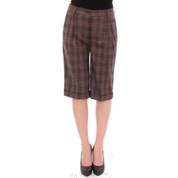 Dolce & Gabbana Brown checkered wool shorts pants