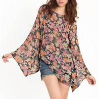 Floral Strides Asymmetrical Top - $38.00 : ThreadSence.com, Your Spot For Indie Clothing & Indie Urban Culture