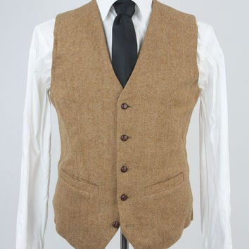 Custom Brown Herringbone Tweed 2 Piece Vest/Pant Suit Monkey Suits
