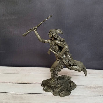 Cheyenne Brave/ Jim Ponter/ Franklin Mint/ Pewter Statue/ Native American Art/ American Indian/ Indian Art/ Native American Indian Statue