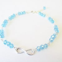 Infinity Loop Anklet - Blue Crystal Jewelry - Blue Infinity Loop Charm Anklet - Adjustable Bead Anklet - Trend Jewelry - Summer Beach Trend