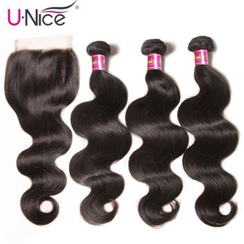 "UNICE Hair Brazilian Body Wave Virgin Hair Bundles With Closure 4PCS Human Hair Bundles With Closure 8-26 ""Virgin Hair Extension"