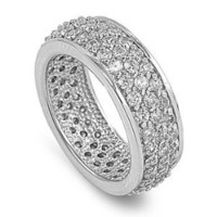 Sterling Silver Pave Clear Cubic Zirconia CZ Band Ring