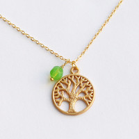 gold life TREE Necklace with green bead, natureNecklace, Pendant necklace, Christmas Gift, nature jewelry