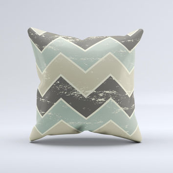 Vintage Tan & Green Scratch Tall Chevron Ink-Fuzed Decorative Throw Pillow