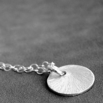 Tiny Sterling Silver Textured Circle Necklace by etco on Etsy