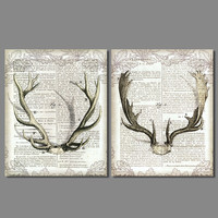 3D Retro Antlers book deer letter picture decoration station canvas painting wall hanging for living room home decor unframed