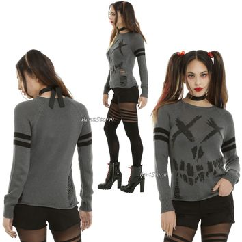 Licensed cool SUICIDE SQUAD Destructed SMILE Logo INTARSIA SWEATER COSPLAY COSTUME DC