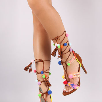 Anne Michelle Embroidered Mulitcolor Pom Pom Lace Up Stiletto Heel