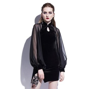 Gothic Black Mini Dress with Mandarin Collar and Sheer Sleeves
