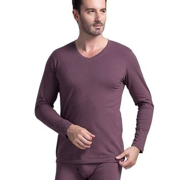 Man's Thermal Underwear Long Johns Cotton Solid Color Man Pants Wram Round Men Neck Underwear Male Coffe Models