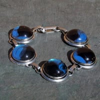 Blue and Black Painted Glass Dome Bracelet Jewelry