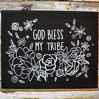 God Bless My Tribe Floral Canvas Art