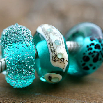 Handmade lampwork glass beads, large hole - Ocean teal green - fit European Charm Bracelets - SRA