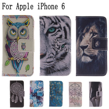 Fashion Covers owl and cat woman Sexy Girl PU leather case Protector Skin for Apple iPhone 6 6S 4.7 inch  LH