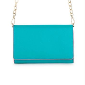 Carly Teal Leather Purse Clutch With Gold Chain Crossbody