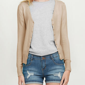 LE3NO Womens Soft Fitted Basic Cardigan Sweater