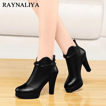 Fashion Martin Boots For Women Spike High Heel Pointed Toe Zip Short Boot Red Black Comfortable Casual Sheepskin Shoes YG-A0048
