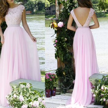 Pink Cap Sleeve Applique Prom Dresses