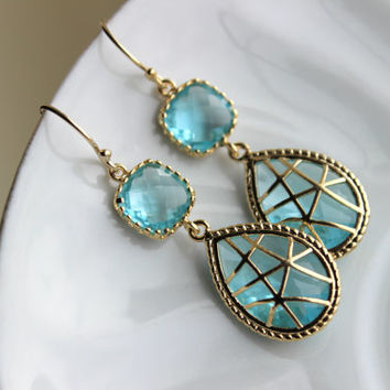Blue Aquamarine Earrings Gold Twisted Design - Bridesmaid Earrings Wedding Earrings Bridesmaid Gift Wedding Jewelry Aquamarine Wedding