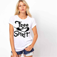 Free Spirit black & white wolf feather graphic t shirt ladies Bohemian top clothes hippie boho shirt girls Native American shirt womens tee