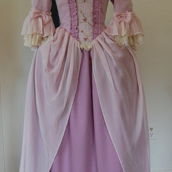 Pink silk and dusty Rose Marie Antoinette Victorian inspired rococo costume dress