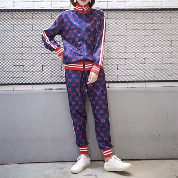 Gucci Fashion Couple Letter Long Sleeve Stripe Casual  Retro Sportswear Two-Piece Suit Clothes