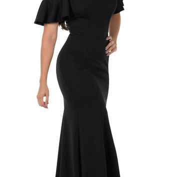 Cold-Shoulder V-Neck Mermaid Long Prom Dress Black