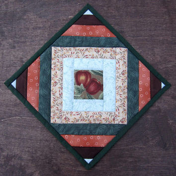 "Quilted Hotpad ""Apple Harvest"" Large Fabric Trivet, Selvedge Mat, Orange and Green Table Mat, Quiltsy Handmade, Autumn Kitchen Table Decor,"