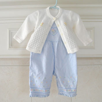 Baby Girl Overalls and Sweater Set Vintage Kids Size 6 Month